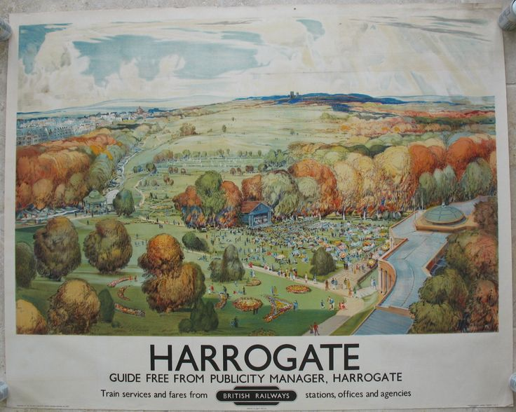 Harrogate, by John Moody. An aerial view of the expansive Valley Gardens and Sun Pavillion, the main people-watching and walking centre of the town in the summer. Harrogate has always been an elegant town, famed for it's spa waters. Original Vintage Railway Poster available on originalrailwayposters.co.uk
