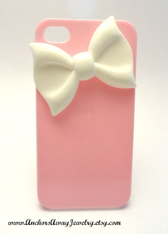 Dress up your Iphone 4 with a pink case featuring an adorable white bow.    Details:  - Case fits Iphone 4/4s  - resin bow Available in other colors and I can do custom orders for other styles of phone. Message me for custom case orders if you have a different style of phone for a quote.    Thanks for shopping Anchors Away Jewelry