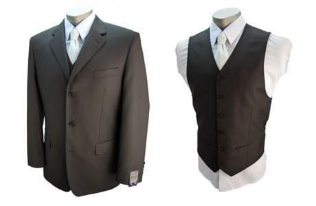 Черный костюм тройка для свадьбы
