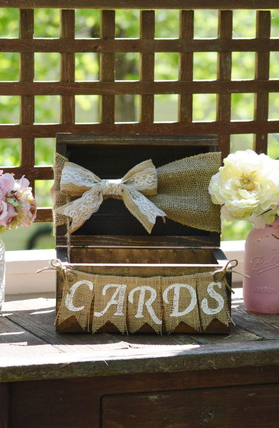 rustic card box for wedding, burlap wedding card box, shabby chic card holder, wooden chest, burlap banner, barn reception decor baby shower