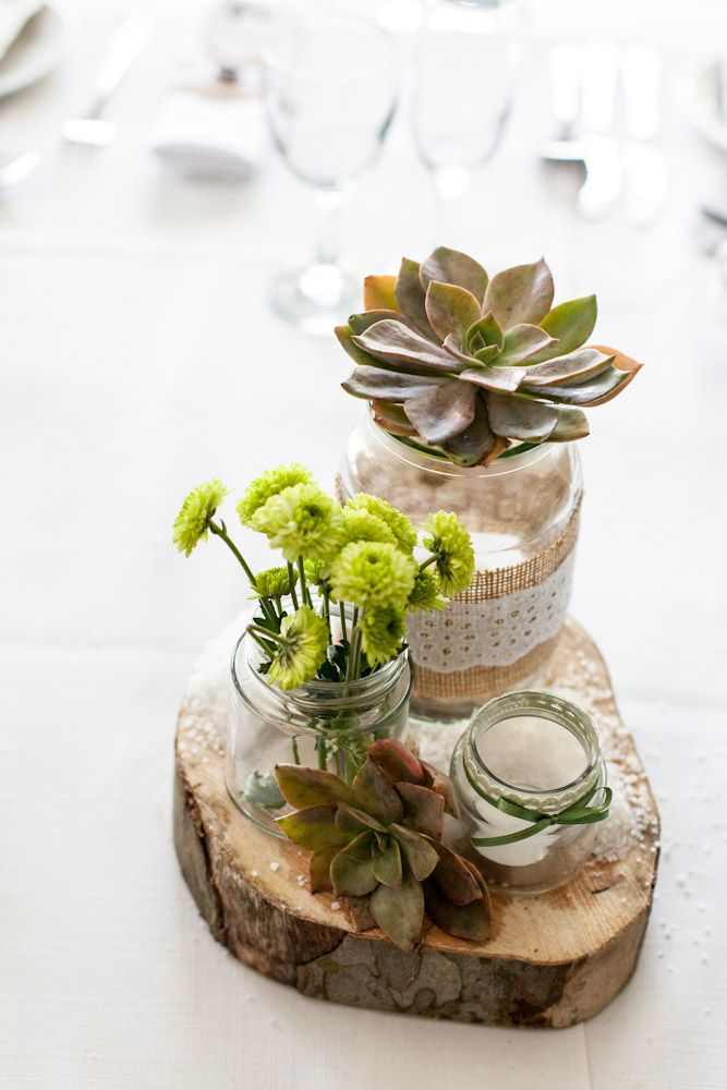 Cute rustic centerpiece idea