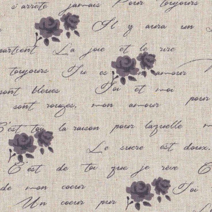 Tessuto Shabby Chic rose scritte grigio ardesia mistolino cm 50 x 150
