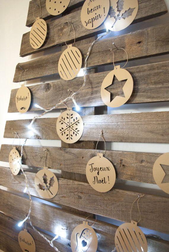 Boules de Noël - papier découpé - décoration Noël - à suspendre - couleur naturelle - kraft - Lot de 10 - guirlande