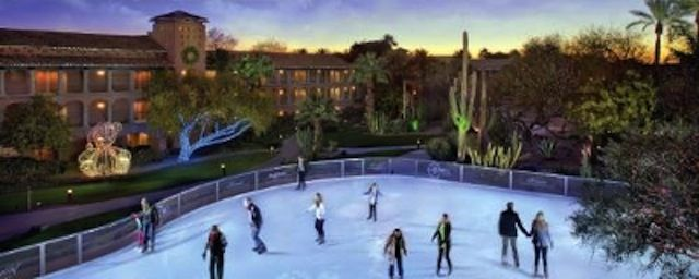 Ice skate outside in Phoenix:  The Princess' Desert Ice or Cityscape.