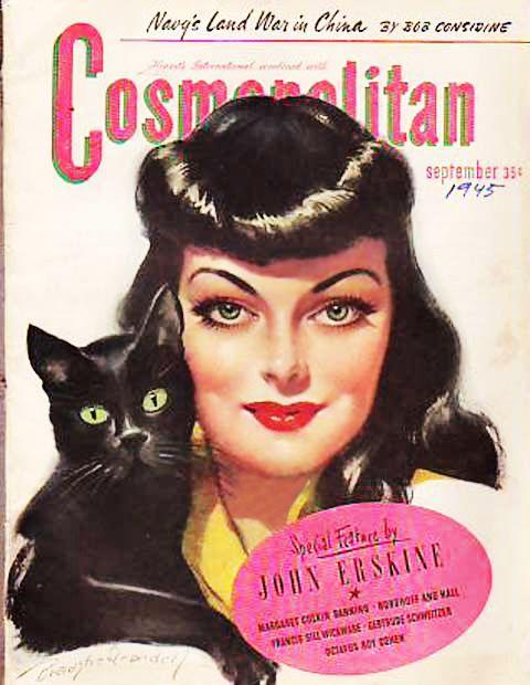 Vintage Cosmopolitan Magazine September 1945 Bradshaw Crandell Cover Art