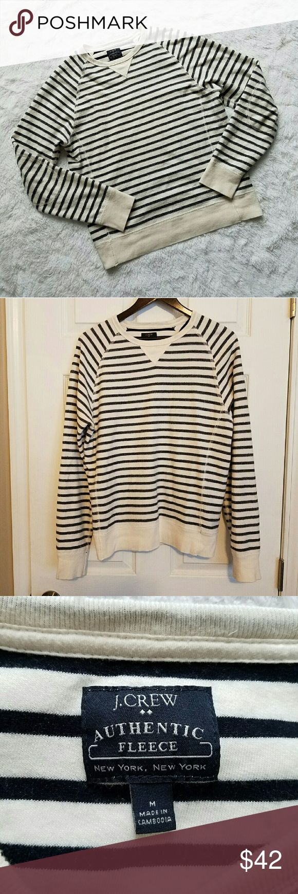 """{J. Crew} Striped Fleece Nautical Sweatshirt Cozy J. Crew """"Authentic Fleece"""" nautical striped sweatshirt. Navy blue and cream white. Cool stitched elbow pads details. Thermal inside-out sweatshirt feel. Long sleeved. Cool on its own or layered!  White cuffs, crewneck collar, and bottom hem. TTS Medium, with a bit of added slouchiness for comfort. Great used condition.  ***20% off bundle discounts   Reasonable offers welcome!   NO TRADES   No modeling*** Tops Sweatshirts & Hoodies"""