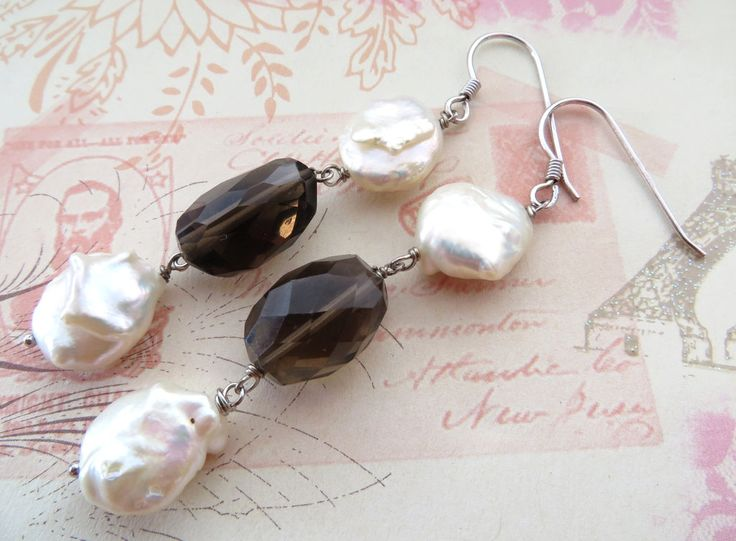 Smoky quartz earrings, baroque pearl earrings, raw stone jewelry, dangle earrings, sterling silver 925, gemstone jewellery, italian jewels by Sofiasbijoux on Etsy