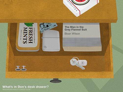 What's in Don's desk drawer?Don Desks, Don Draper, Men Don, Madmenunbuttoned Com, Desks Drawers, Men Mad, Mad Men, Desktop Wallpapers, Mad Life