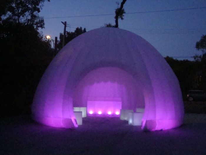 Inflatable marquee.  Promotional inflatable dome.  Purple lighting