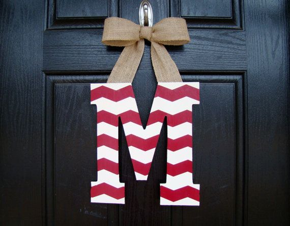Chevron Painted Letter Door Hanger Customized by WeatheredDesigns, $20.00