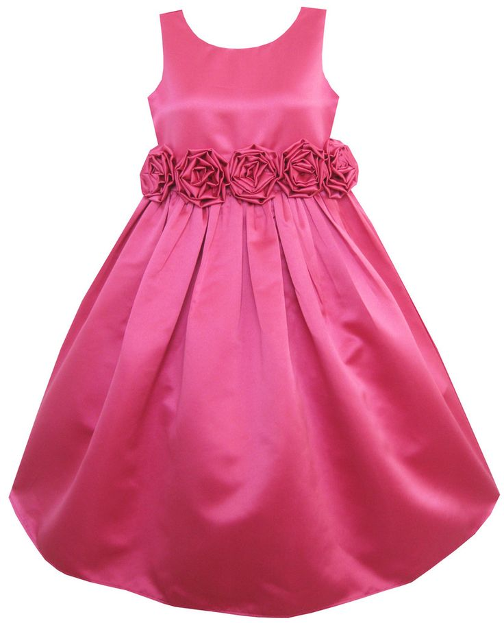 Girls Dress Rose Pink Shinning Wedding Pageant Bridesmaid Size 4-12 Years