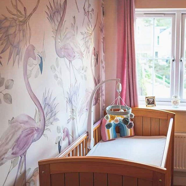 The Nursery Of Little Queen, Straight From United Kingdom! Our Flamingo  Wallpaper Looks Soo Cosy! #flamingo #pastel #wallpaper #wallmural #mural  #watercolor ...