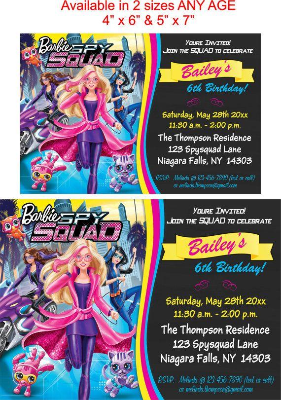 YOU PRINT Barbie Spy Squad Birthday Invitation by TAGSRUSCANADA | Party Ideas | Pinterest ...