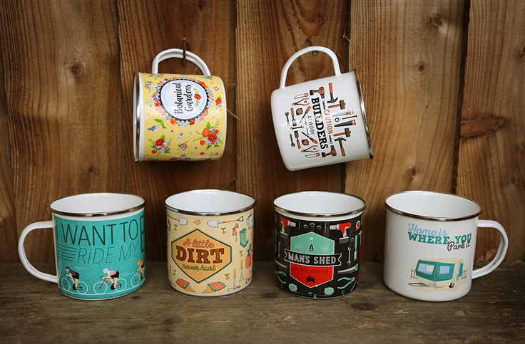 Slogan Enamel Tin Mugs - 'A Man's Shed Is His Castle', 'A Little Dirt Never Hurt', 'Caution Builder At Work', 'I Want To Ride My Bicycle', 'Home Is Where You Park It' and Botanical Gardens #giftideas #giftsforher #homedecor