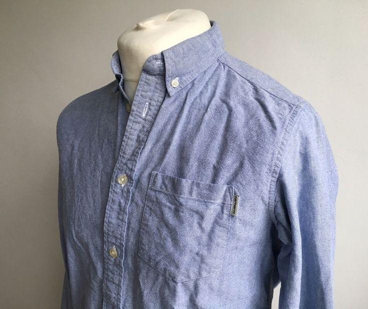 CARHARTT Raymond Mens Shirt UK Size M Sky/Camo 100% Cotton Medium Work
