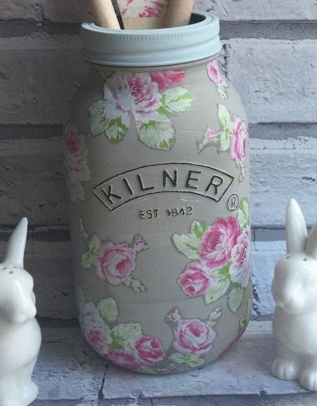 Decoupage 1ltr Kilner Jar, decorative vase display vessel | eBay