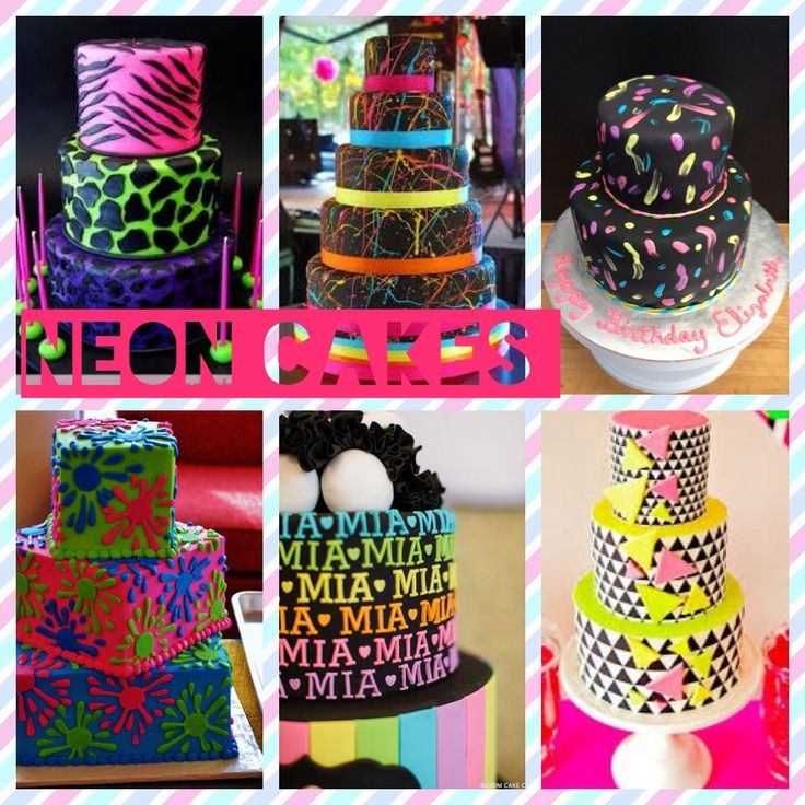 Lots and lots of easy cake ideas for a glow in the dark party !!!