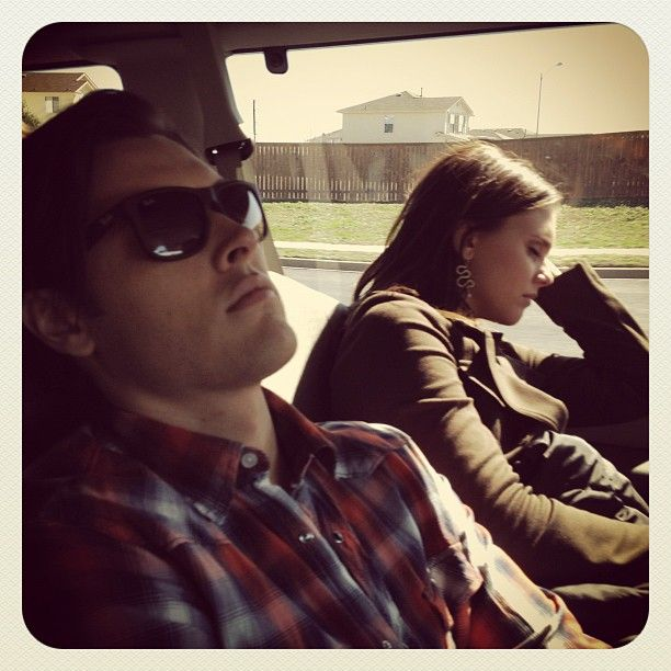 Blair Redford (Ethan) and Alexandra Chando (Emma/Sutton) behind the scenes of The Lying Game.