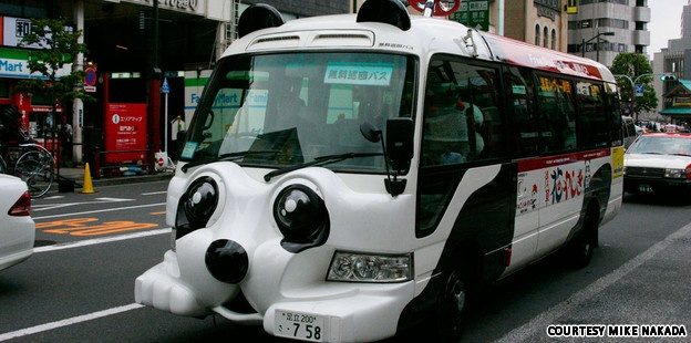 Panda bus for free! From Asakusa to Tokyo Sky Tree.