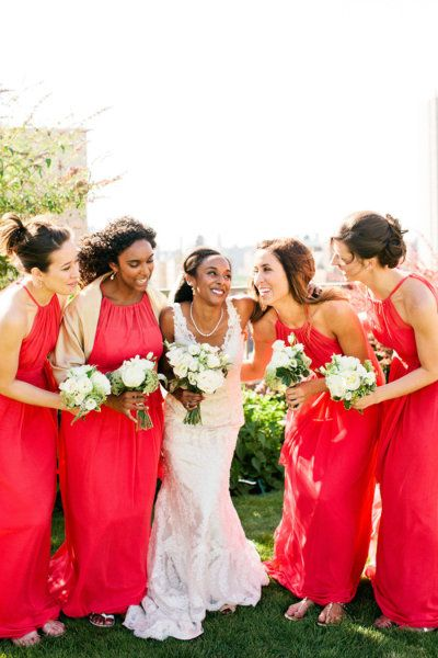 bright coral red bridesmaid gowns paired with white and green ...