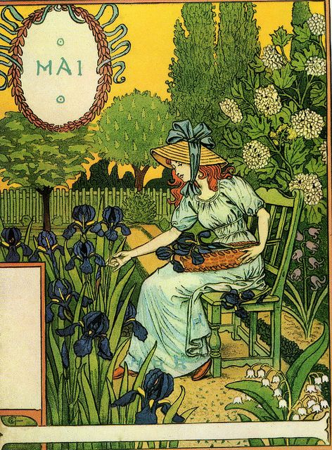 Eugène Grasset - Dessins pour le calendrier de La Belle Jardinière (1896)  Months of the year series - May.