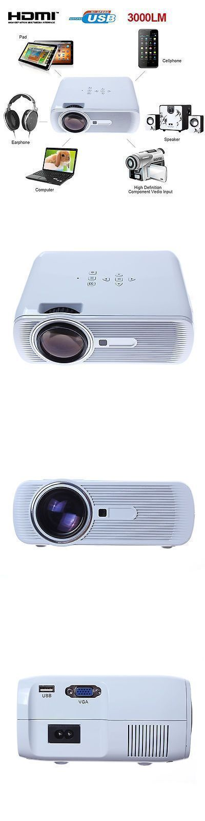 Home Theater Projectors: 3D 1080P 3000 Lumens Projector Home Theater Cinema Led/Lcd Hdmi Vga Av Tv Vga Hd BUY IT NOW ONLY: $101.5 #hometheatreprojectors #homecinemaprojector