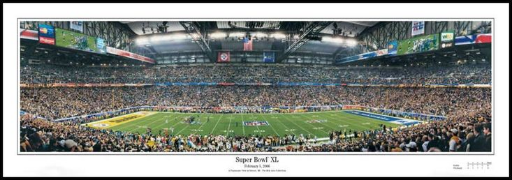Pittsburgh Steelers Wood Mounted Poster Print - Ford Field - Super Bowl 40 XL - Lg