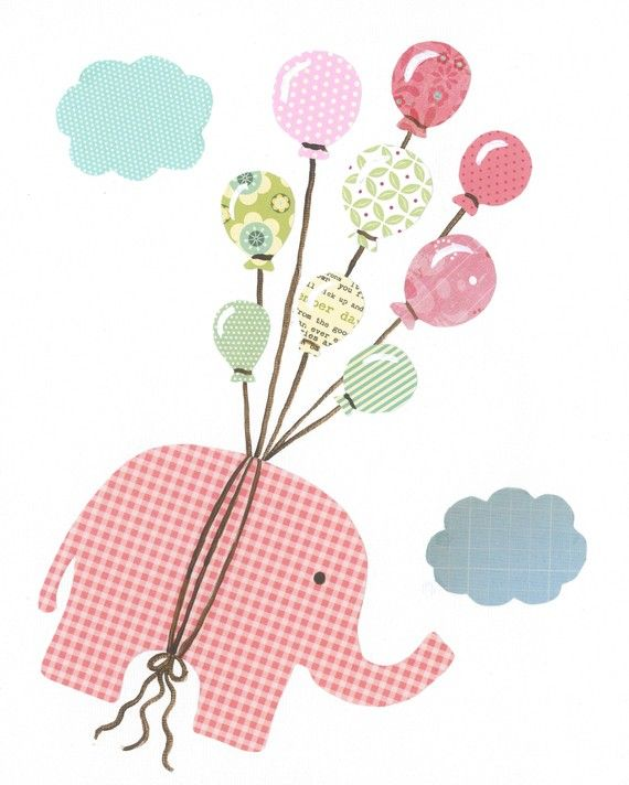 Children Wall Art PRINT - I can fly elephant with balloons (pink), 11 x 14 Nursery Art, Baby Girl Art