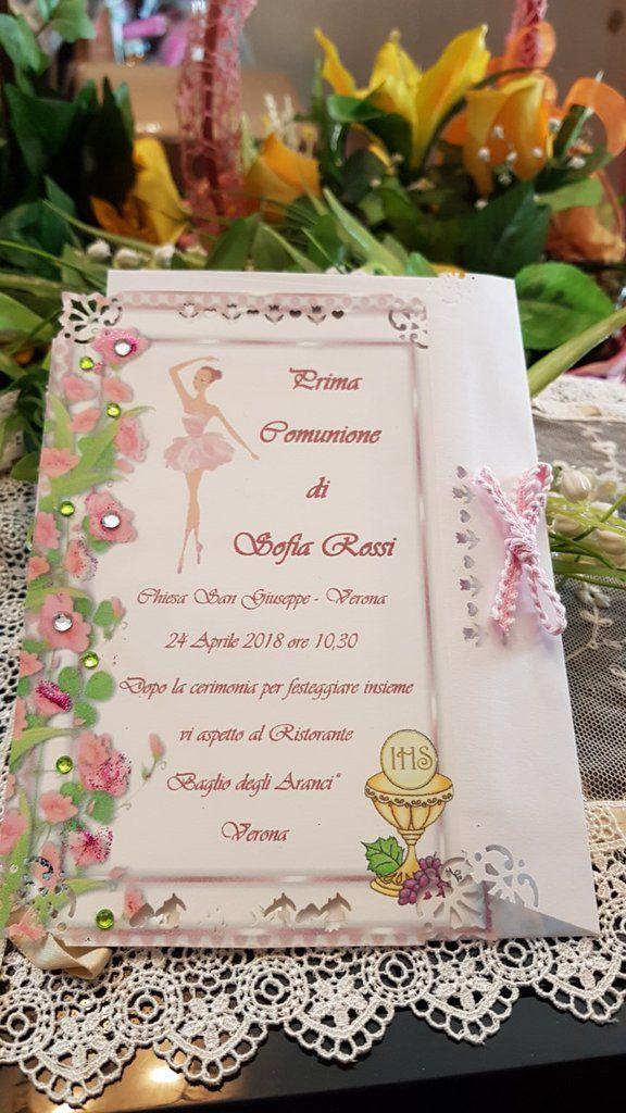 Invito Prima Comunione Personalizzato Ballerina E Calice Inviti