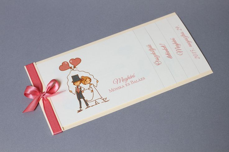 Love story esküvői meghívó - vintage wedding invitation, ribbon wedding invitation
