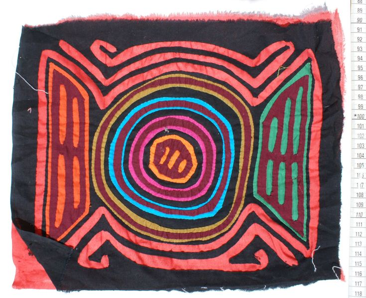 Kuna Tribe Mola Panama Art Crafts,Textile Quilt, Dark Black Red Etc Colours