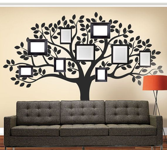 """What better way to display photos of your loved ones than in our Family Tree Decal! Place your favorite framed photos all around the tree! (photos, frames and memories not included!) Large Size: (approx): 108""""w x 90""""h Small Size: (approx): 95""""w x 80""""h . The size of this decal is approximately 90"""" high x 108"""" wide. This decal can be made in different dimensions. Larger sizes may increase the price of the wall decal and also result in installations requiring more than one piece. Each order of…"""