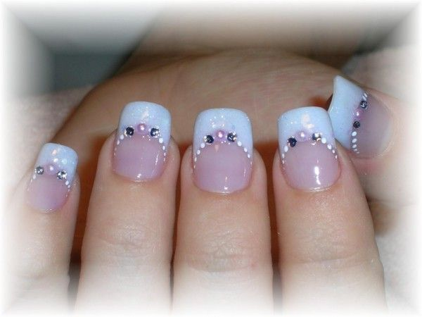 Endearing Wedding Nail Art Design Idea With Pale Blue And Pink Colors White Dots Accent