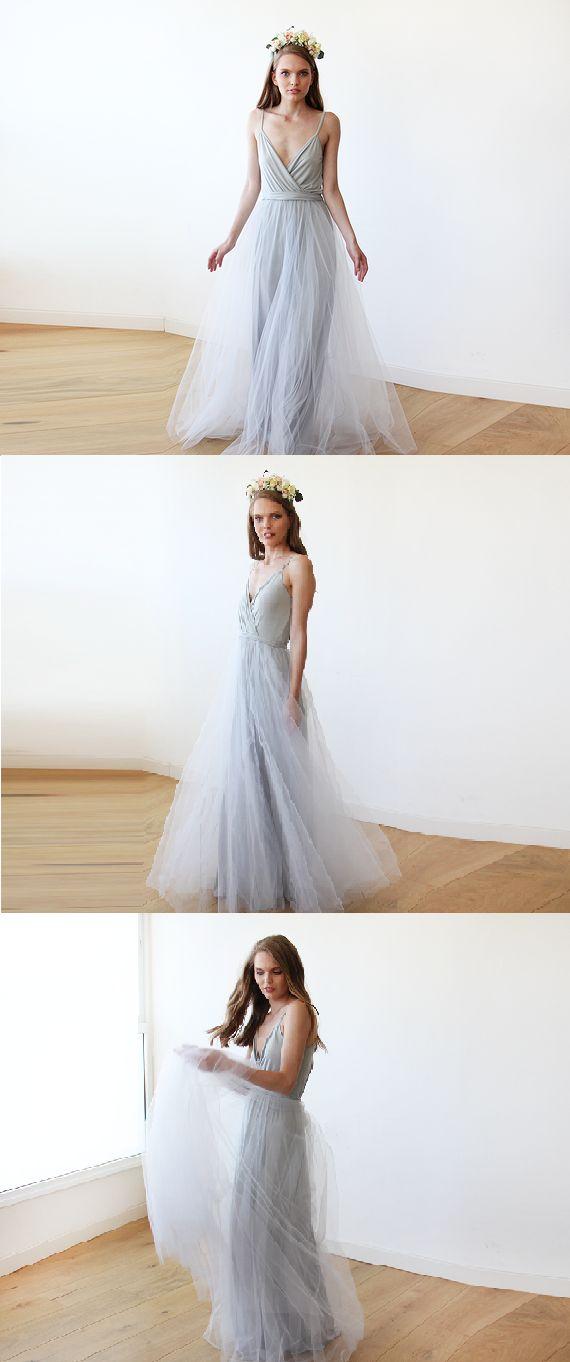 simple spaghetti straps a-line/princess chiffon bridesmaid dress
