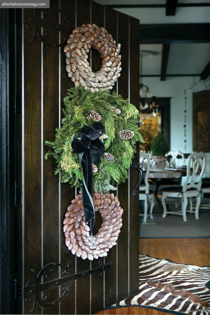 wreath: Christmas Wreaths, The Doors, Black Interiors, Doors Decor, Christmas Doors, Pine Cones, Front Doors, Holidays Decor, Atlanta Home