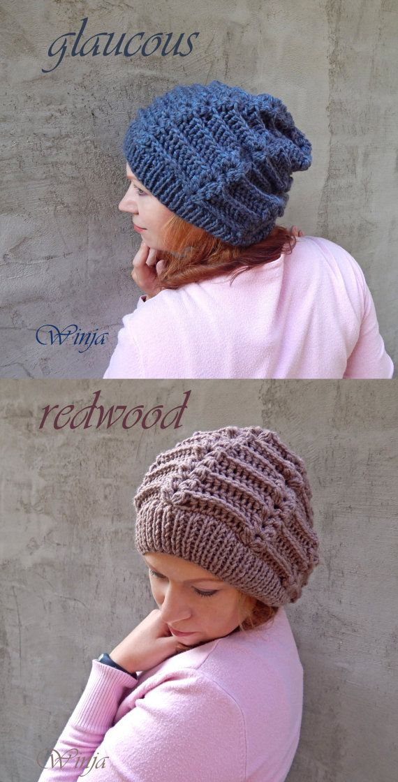 Knitted hat women's knit hat slouchy hat knitted by OnGoodLuck