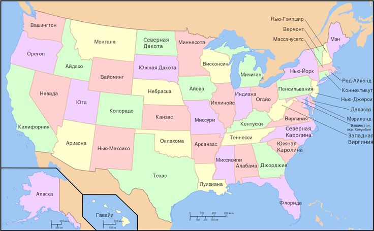 Map of USA with state names ru(2).svg