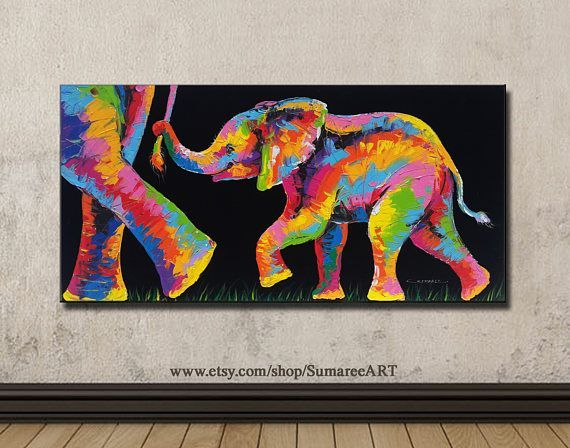 Colorful elephant painting acrylic on canvas wall decor by artist Sumaree Nunsang from Thailand. The painting not ready to hang, It is no frame. This is hand painted not a print. The paintings were copy from one piece to another, not an original one. Canvas size: 48x98 cm (width 98 cm,