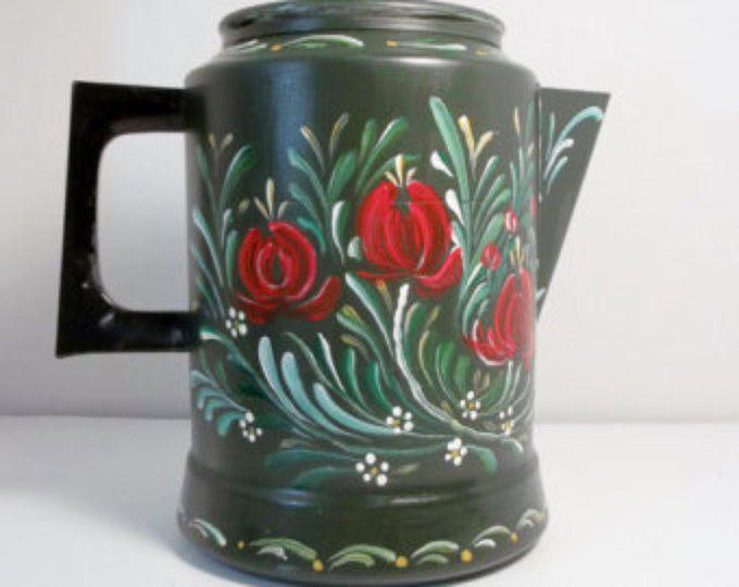 Vintage Coffee Pot. Green, Aluminum, Coffee Maker, Percolator, Hand Painted, Scandinavian Design, Swedish, Norwegian Rosemaling, Folk Art,