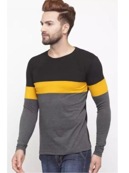 42465e6b Cool Tees · Fancy solid vertical panel Mens Solid Slim Fit Stylogue  charcoal solid slim fit full sleeve professional