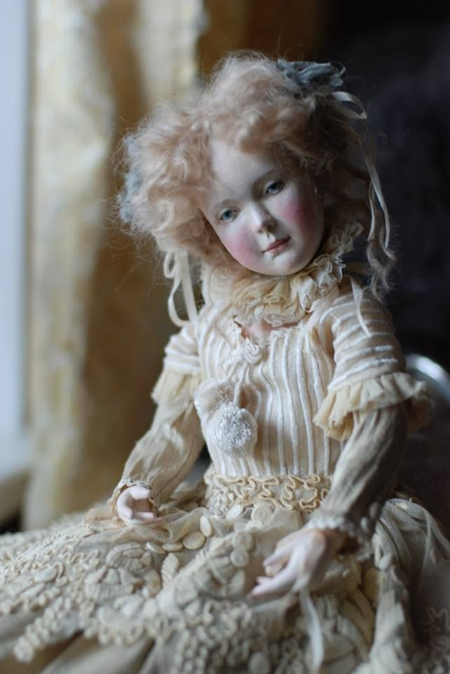 Olga Sukach - doll made of wood (linden), about 50 cm, suit silk and antique lace