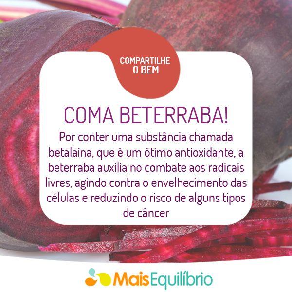 Veja outros ótimos motivos para comer beterraba: http://maisequilibrio.com.br/nutricao/os-beneficios-da-beterraba-2-1-1-753.html