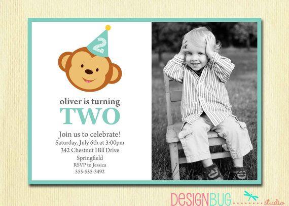 Boy's Birthday Monkey Invitation - Baby Boy First Birthday, Second Birthday -  Printable 1st or 2nd Birthday Boy Custom, Photo Invite on Etsy, $14.00