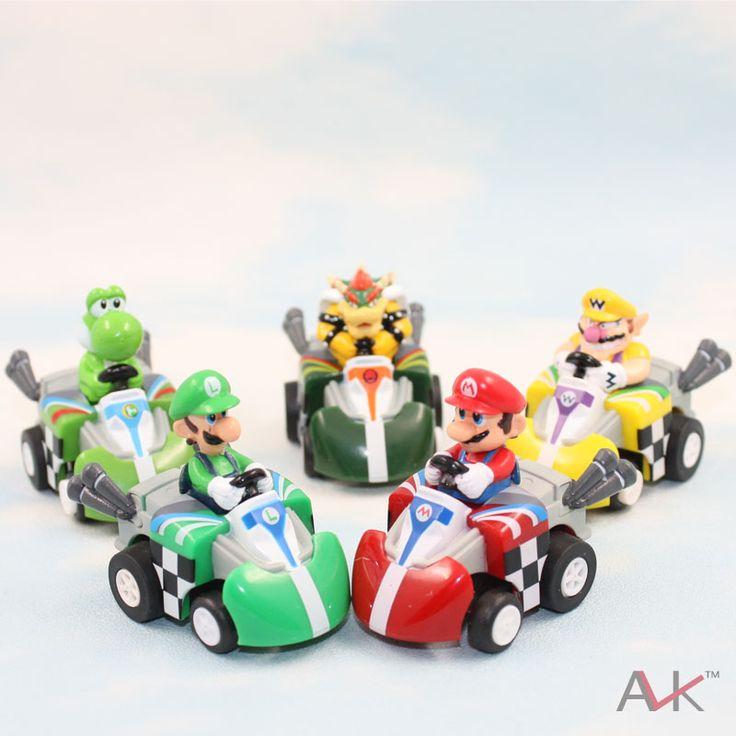 Супер марио марио автомобиля игрушки полный комплект из 5 супер марио. Kart вытяните назад автомобили цифры супер марио картинг рисунок