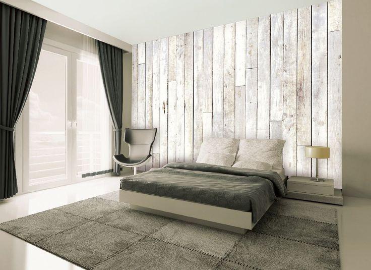 """Papier-Peint Décoration Mural Géant """"Facile A Suspendre"""" Bois Blanc Modèle B001: Amazon.fr: Cuisine & Maison"""