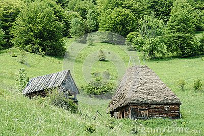 A traditional wooden barn with straw thatched roof on a hill side in Transylvania.