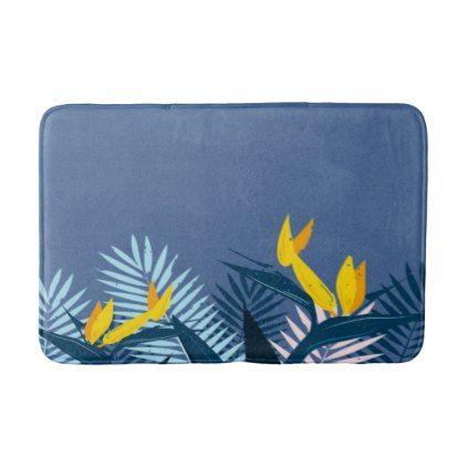 Modern Blue Tropical Paradise Bath Mat - floral style flower flowers stylish diy personalize