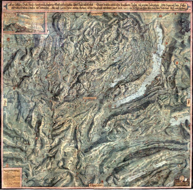Gygerkarte - Canton of Zurich, Switzerland, 1667 #map #zurich #switzerland