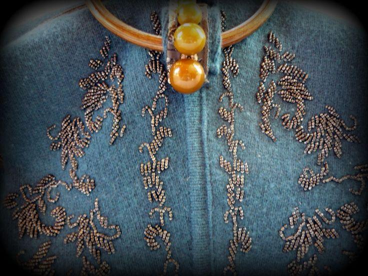 Handmade by Judy Majoros-  Wool Knit handbag with wooden handles. Beaded handbag. Recycled bag