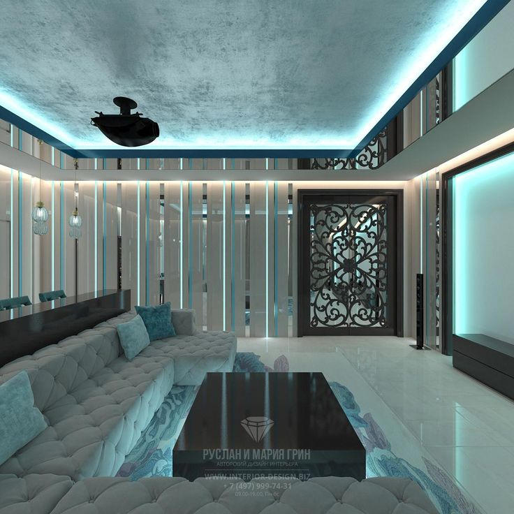 Дизайн интерьера домашнего кинотеатра. Фото